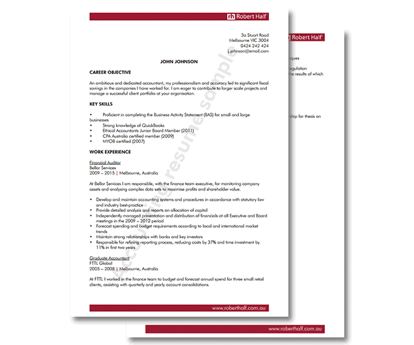executive resume template robert half