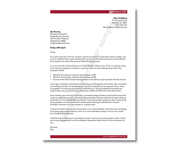 Accounting cover letter template | Robert Half